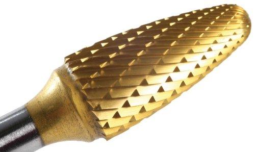 (Champion Cutting Tool SF41 Tin Coated Miniature Bur, Tree Shape Radius End Solid Carbide, 1/8-Inch Cutter Diameter 1/4-Inch Cutter Diameter)