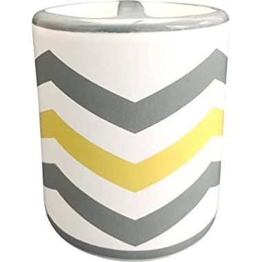 Ceramic and Trendy Chevron Toothbrush Holder, Yellow