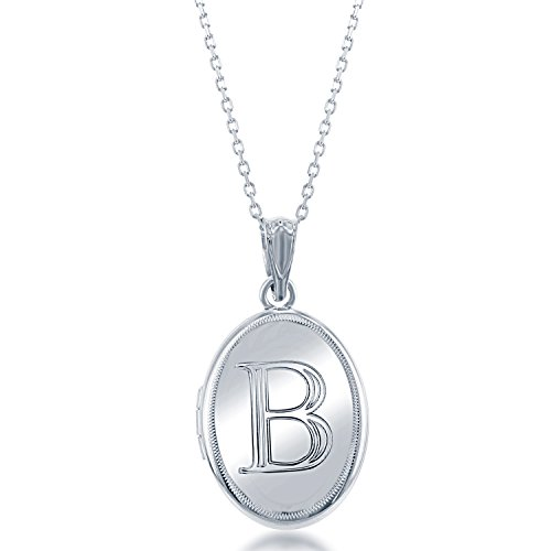 Sterling Silver High-Polish Initial ''B'' Oval Locket with 18'' Chain by Beaux Bijoux
