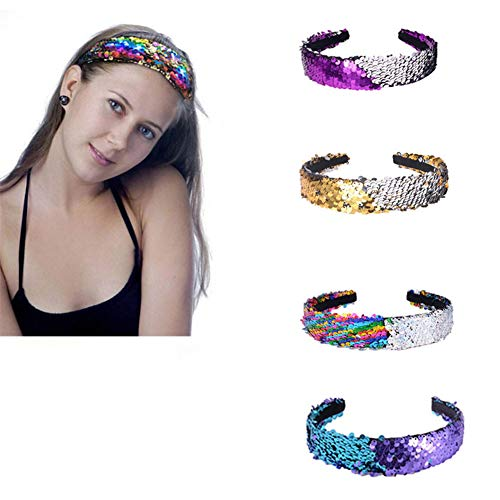 Silvstoneser Jewelry 4 Colors Reversible Sequin Headbands Fashion Headband Magic Alice Sparkly Glitter Hair Band Hair Accessories for Girls Women Teens Kids Children (4 -