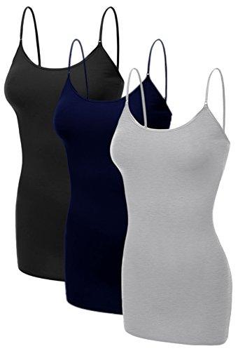 Emmalise Women's Basic Casual Long Camisole Adjustable Strap Cami Layering Top, 1xl, 3Pk Black, Hgray, Navy