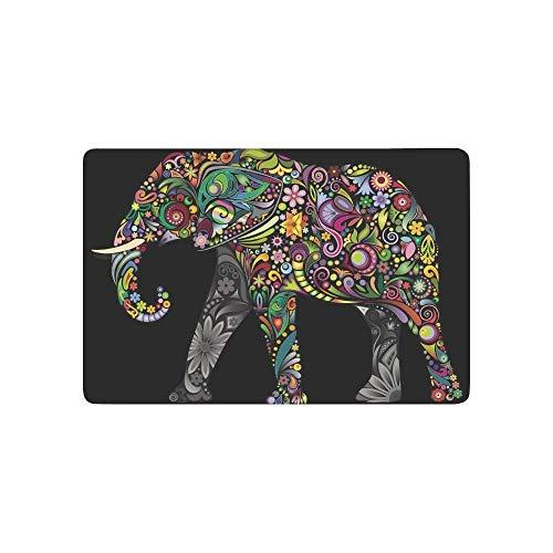 Tai Tower Chi (Needyounow Tribal Ethnic Flower Elephant, Humor Polyester Welcome Door Mat Rug Indoor/Outdoor Mats Decor Rug for Home/Office/Bedroom Skiding-prooof,23.6