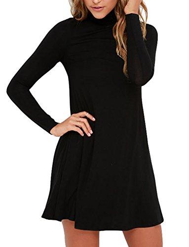 Ssyiz Women's Turtleneck Long Sleeve Casual Swing Dress with Pockets