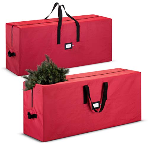 2-Pack, Christmas Tree Storage Bag - Fits Up to 7 Foot. Tall Artificial Disassembled Trees, Durable Handles & Sleek Dual Zipper - Holiday Xmas Duffle Bag, 420D Oxford Fabric (Red)