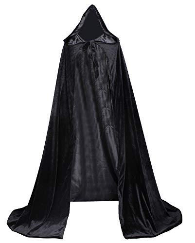 LuckyMjmy Velvet Renaissance Medieval Cloak Cape lined with Satin (Small, Black) -