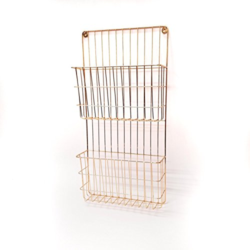 Designstyles Copper Plated 2 Tier Metal Wall File Holder