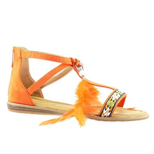Angkorly - Scarpe da Moda sandali donna pon pon ricamo Tacco zeppa 1.5 CM - Arancione