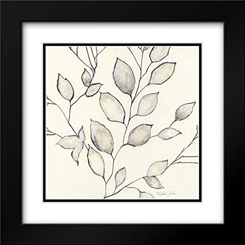 Whispering Leaves II 20x20 Black Modern Frame and Double Matted Art Print by Tava Studios