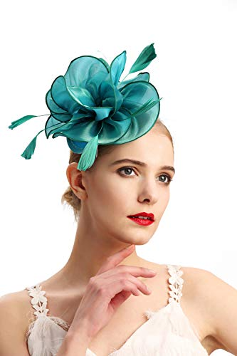 - Czioe Flower Cocktail Tea Party Headwear Feather Fascinators Top Hat for Girls and Women Clip(2-olive green)