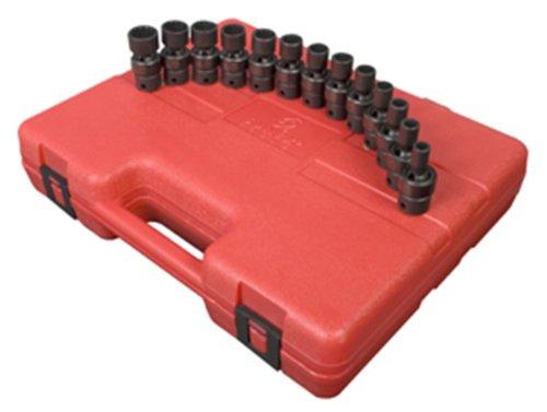 Sunex 3691 38 Inch Drive 12 Point Standard Length Metric Universal Impact Socket Set 13 Piece