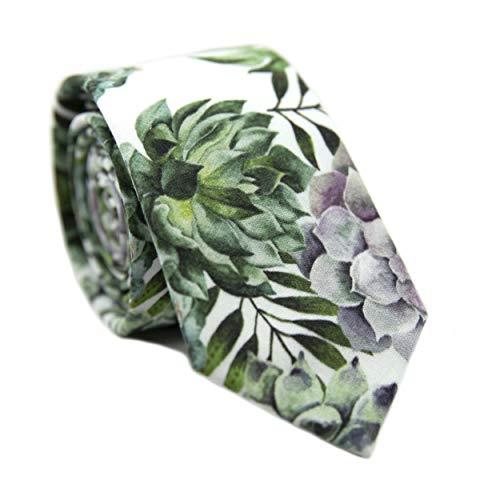 DAZI Men's Skinny Tie Floral Print Cotton Necktie, Great for Weddings, Groom, Groomsmen, Missions, Dances, Gifts. (Aloe)