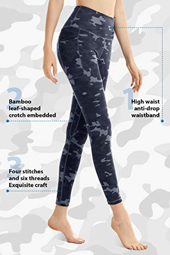 FETY Womens Workout Leggings with Pockets High Waist Full-Length Yoga Pants Tummy Control 4 Way Stretch Pants for Women