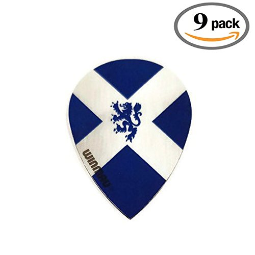 9 Pack Winmau Scotland Flag Lion Scottish 75 Micron Strong Slim Pear Dart Flights by Art Attack