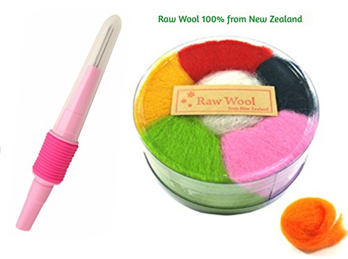 Needle Felting Kit w/ Raw Wool Fiber 100% from New Zealand - Pen Style Felt Needle Set w/ Ergonomic Handle for Safety & Comfort - Perfect for Small, Delicate, & 3D Projects Using 1, 2, & 3 Needles