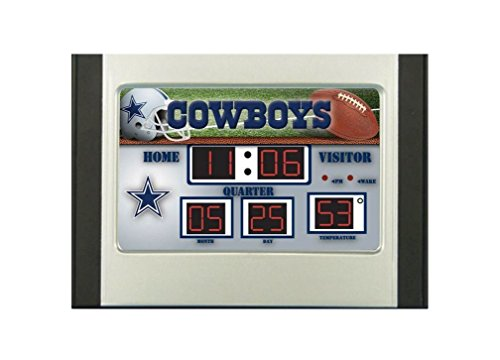 Team Sports America NFL Dallas Cowboys Scoreboard Desk Clock, Small, Multicolor