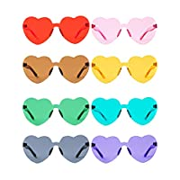 Gejoy Heart Shaped Love Rimless Sunglasses One Piece Transparent Candy Color Frameless Glasses Tinted Eyewear Thick slices (8 Pairs Color A)