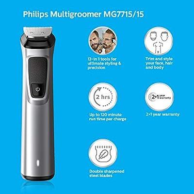 Philips MULTIGROOM Series 7000 Cara, cabello y cuerpo 13 en 1 MG7715/15 - Afeitadora (cabello y cuerpo 13 en 1 ...
