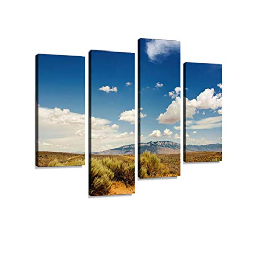 Southwestern Sunset Landscape with Sandia Mountains Canvas Wall Art Hanging Paintings Modern Artwork Abstract Picture Prints Home Decoration Gift Unique Designed Framed 4 Panel