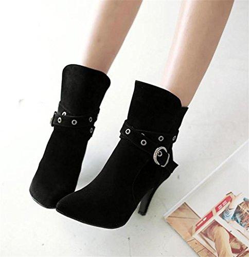 HETAO Stretch Talons Daim Tempérament Pointed Heel Chaussures Womens Faux en de Élégant High Leather Ladies black personnalité Bottes Chaussures rr8dwqCg