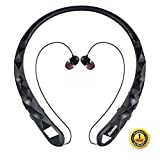 Bluetooth Headphones Bluenin Wireless Headphones Neckband Retractable Earbuds Noise Cancelling Stereo Headset Sport Sweatproof Earphones with Mic for iPhone Andriod Cell Phone Tablets TV (Black)