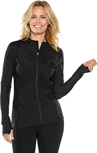 Coolibar UPF 50+ Women's Ruched Swim Jacket - Sun Protective (Small- Black) (Pocket Ruched Jacket)