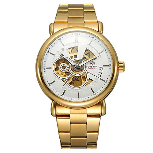 LUCAMORE Mens Mechanical Watch Waterproof Classic Elegant Skeleton Hollow Dial Stainless Steel Band Wrist Watch