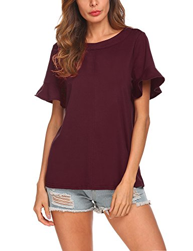 Venena Women's Casual Scoop Neck Pleated Front Blouse Short Bell Sleeve Top Tunic Shirt (Ruffle Shirt Sleeve)