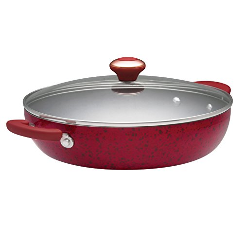 - Paula Deen Signature Porcelain Nonstick 12-Inch Covered Chicken Fryer, Red Speckle