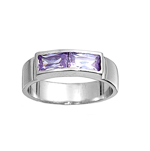 Baguette Light Purple Lavender Cubic Zirconia Invisible Strip Petite Ring 925 Sterling Silver Size 2 - Baguette Purple Ring