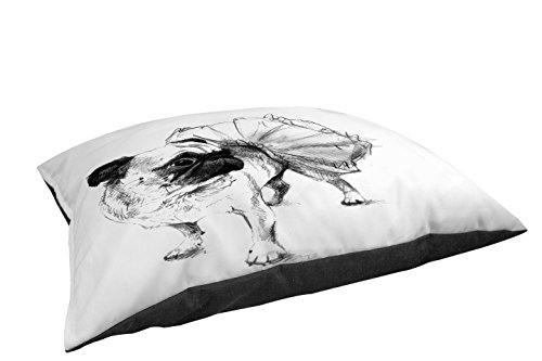 Manual Woodworkers & Weavers Fleece Top Large Breed Pet Bed, Ballerina Pug Chloe, Off-White