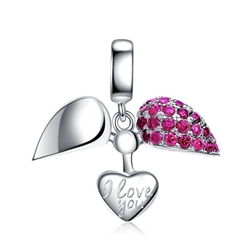 I Love You Charm 925 Sterling Silver Love Heart Dangle Bead Charms for European Charms Bracelet Necklace (Hot Pink) ()