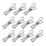 60 Pieces Stainless Steel Clothes Pins Clothes Clips Utility Hooks with Clips