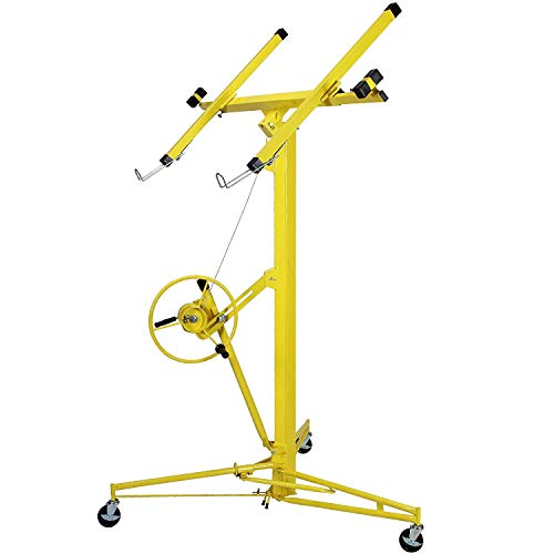 Vosson Drywall Lift 16 Feet Panel Hoist Jack Rolling Lifter Drywall Ceiling Lift Lockable w/Caster Wheel Yellow, 150 lbs Capacity Drywall Panel Lift Hoist
