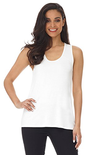 Rayon Camisole - Rekucci Women's Soft Knit Scoop Neck Sleeveless Tank Top (X-Large,White)