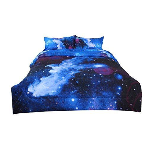 (uxcell Full 3-Piece Galaxies Dark Blue Comforter Sets - 3D Space Themed - All-Season Down Alternative Quilted Duvet - Reversible Design - Includes 1 Comforter, 2 Pillow Shams )