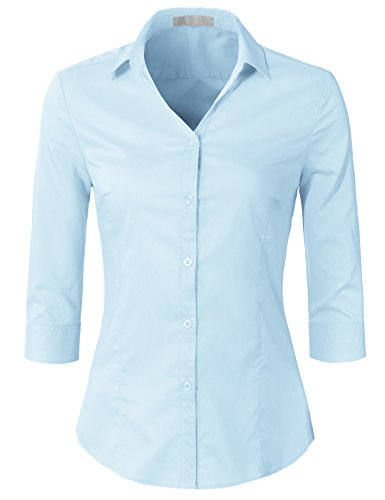 H2H Womens Classic Solid 3/4 Sleeve Button Down Blouse Dress Shirt SkyBlue S (AWTSTS0366)