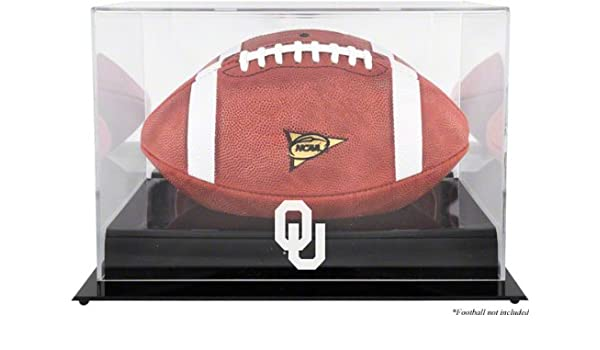 Oklahoma Sooners Team Logo Football Display Case Details Black Base