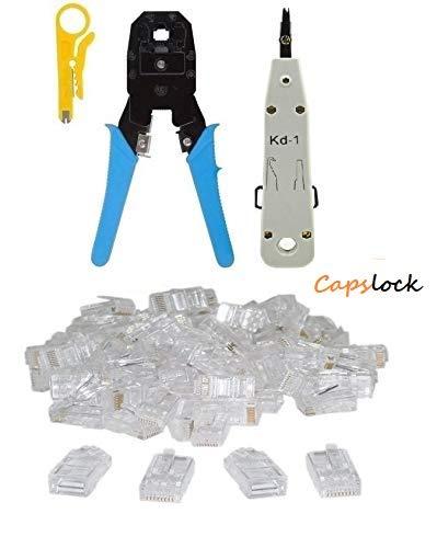 CAPSLOCK KD1 Punch Down Tool + RJ11 RJ45 Crimping Tool + 50PC RJ45 Connector (Colour as per Availability) Price & Reviews