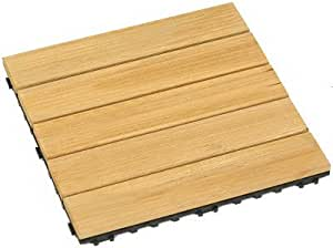 Mitef Antiseptic Anti-skidding Easy Instation Wood Deck Tiles for Patio Garden Terrace Bathroom Shower,Black Fret,6pack