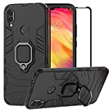 BestAlice for Xiaomi Redmi Note 7 / Redmi Note 7 Pro Case, Hybrid Heavy Duty Protection Shockproof Defender Kickstand Armor Case Cover Tempered Glass Screen Protector,Black