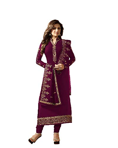 (Purple Georgette Embroidered Churidar Straight Salwar Suit with Georgette Embroiederd Dupatta)