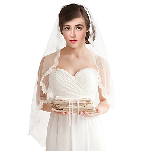 Bridal Veils,White Ivory 1T Wedding Accessories with Lace Edge 86CM