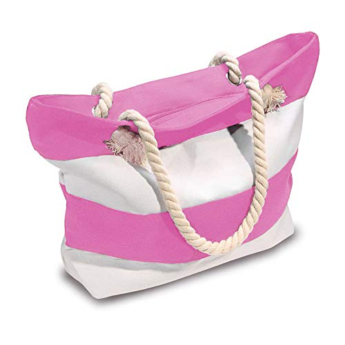 Beach Bag With Inner Zipper Pocket from Moskus Gear Medium To Large Sized Mesh Cotton Striped Tote Bag & Bonus Phone Dry bag ( Pink and White ) -