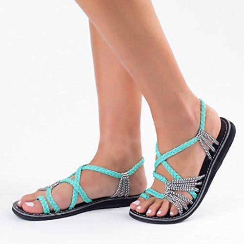 Plaka Flat Sandals For Women Palm Leaf Buy Online In Uae