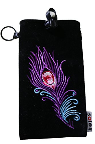 Eyeglass Pouch Padded Oversized Also Smartphones & Coins Purse (Black Velvet Feather - Embroidered Sunglasses