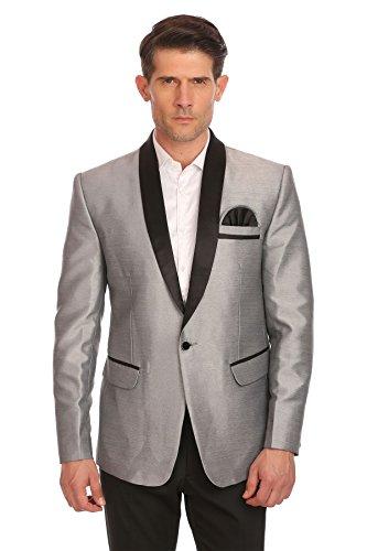 tton Shawl Collar Party Silver Blazer Coat,Medium / 40 ()