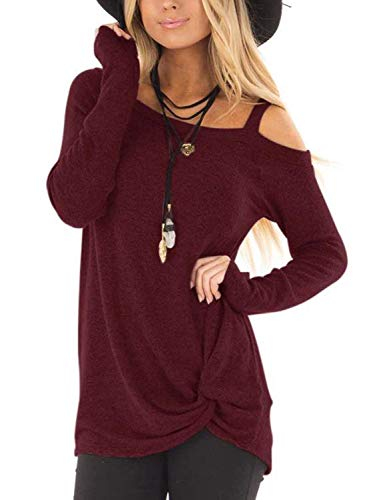 Yidarton Women's Cold Shoulder Tops Long Sleeve Side Twist Knotted Blouse Tunic T Shirts(COY-wi,s)
