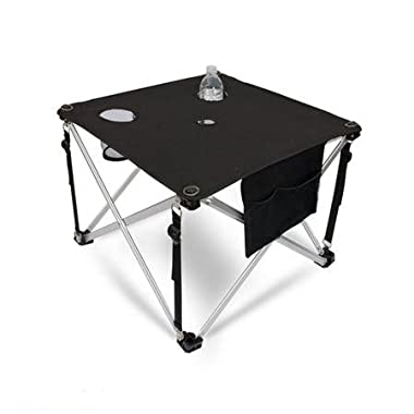 World Outdoor Products Ultra Lightweight Premium Folding Aluminum Camping Table with Cup Holders, Mesh Storage Pockets and Two Inch Umbrella Hole.