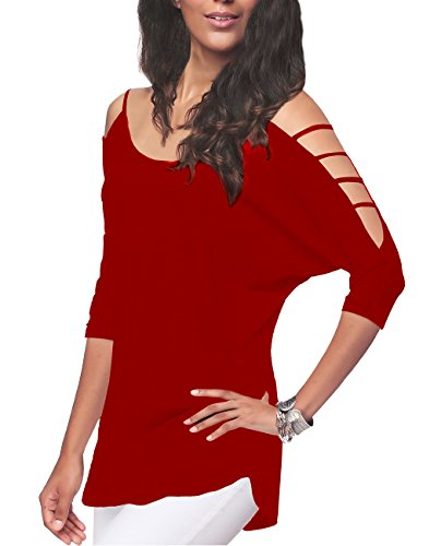 iGENJUN Women's Casual Loose Hollowed Out Shoulder Three Quarter Sleeve Shirts,M,Red
