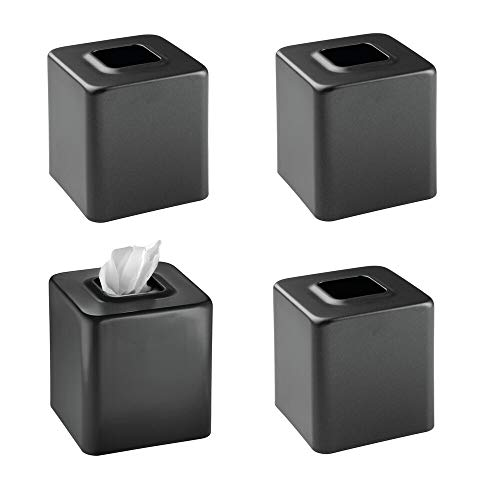 mDesign Modern Square Metal Paper Facial Tissue Box Cover Holder for Bathroom Vanity Countertops, Bedroom Dressers, Night Stands, Desks and Tables - 4 Pack - Black
